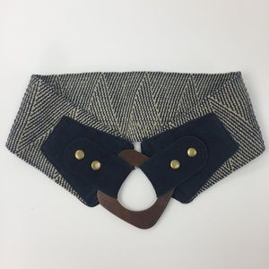 Linea Pelle Blue Stretch Belt with Wood Buckle
